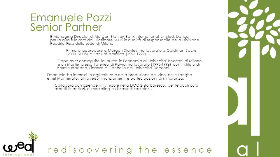 Emanuele Pozzi Senior Partner rediscovering the essence