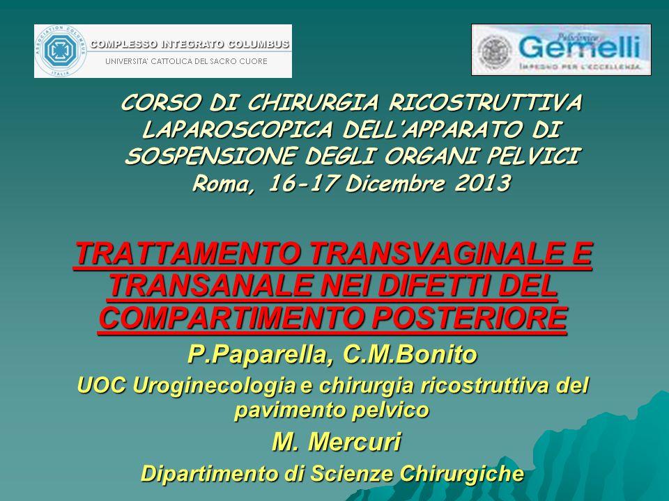 CORSO DI CHIRURGIA RICOSTRUTTIVA LAPAROSCOPICA DELL'APPARATO DI SOSPENSIONE DEGLI ORGANI PELVICI Roma, 16-17 Dicembre 2013