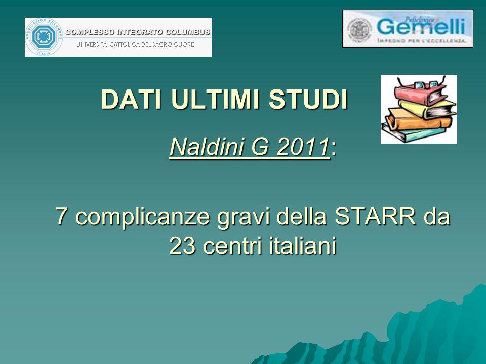 Naldini G 2011: 7 complicanze gravi della STARR da 23 centri italiani