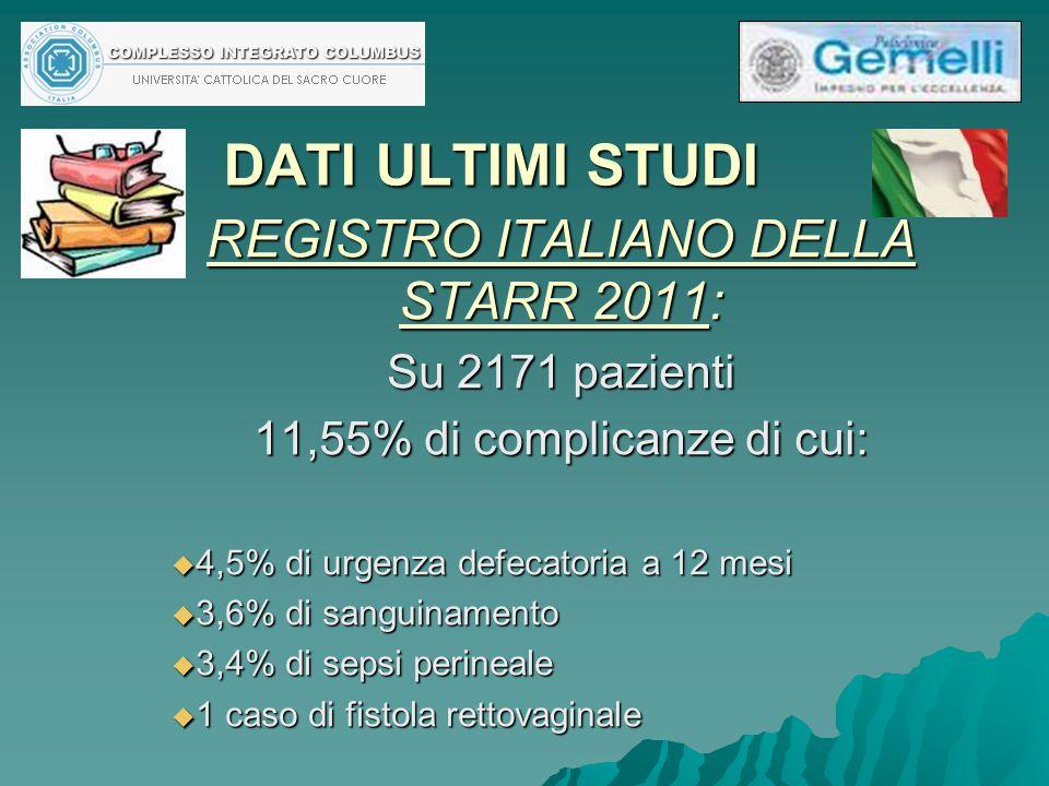 DATI ULTIMI STUDI REGISTRO ITALIANO DELLA STARR 2011: Su 2171 pazienti