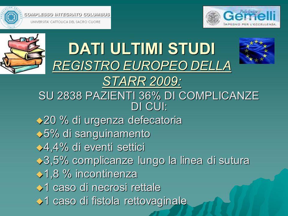 DATI ULTIMI STUDI REGISTRO EUROPEO DELLA STARR 2009: