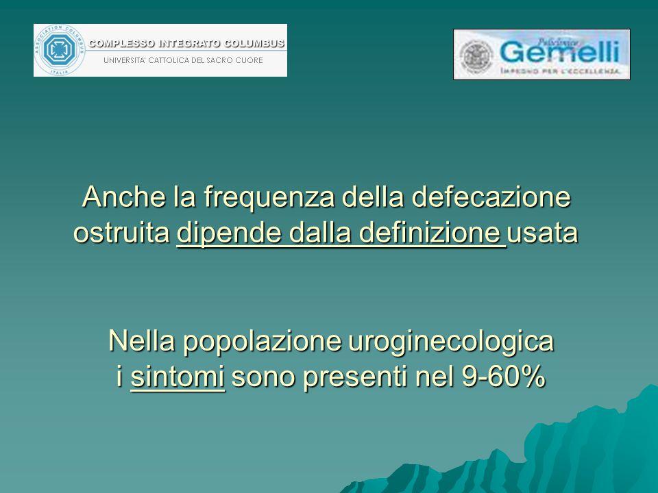 Nella popolazione uroginecologica i sintomi sono presenti nel 9-60%