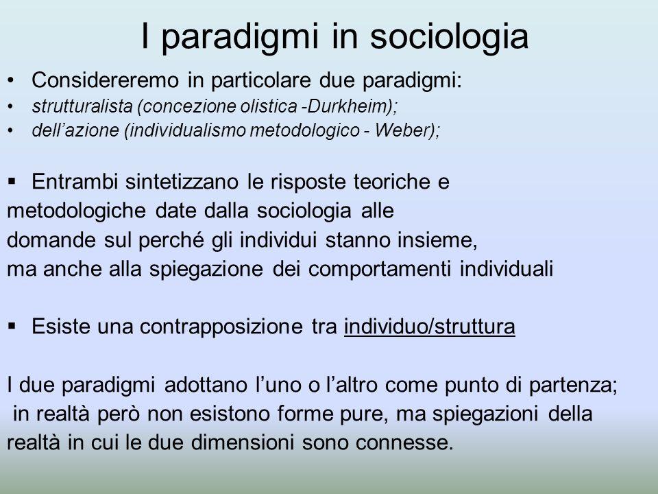 I paradigmi in sociologia