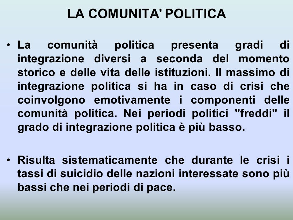 LA COMUNITA POLITICA