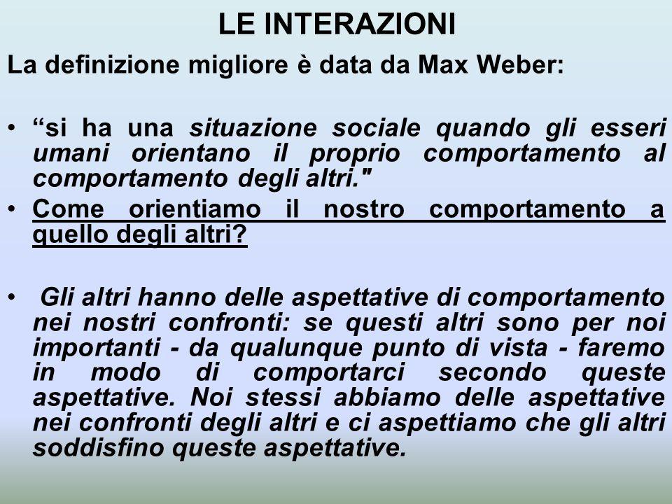LE INTERAZIONI La definizione migliore è data da Max Weber: