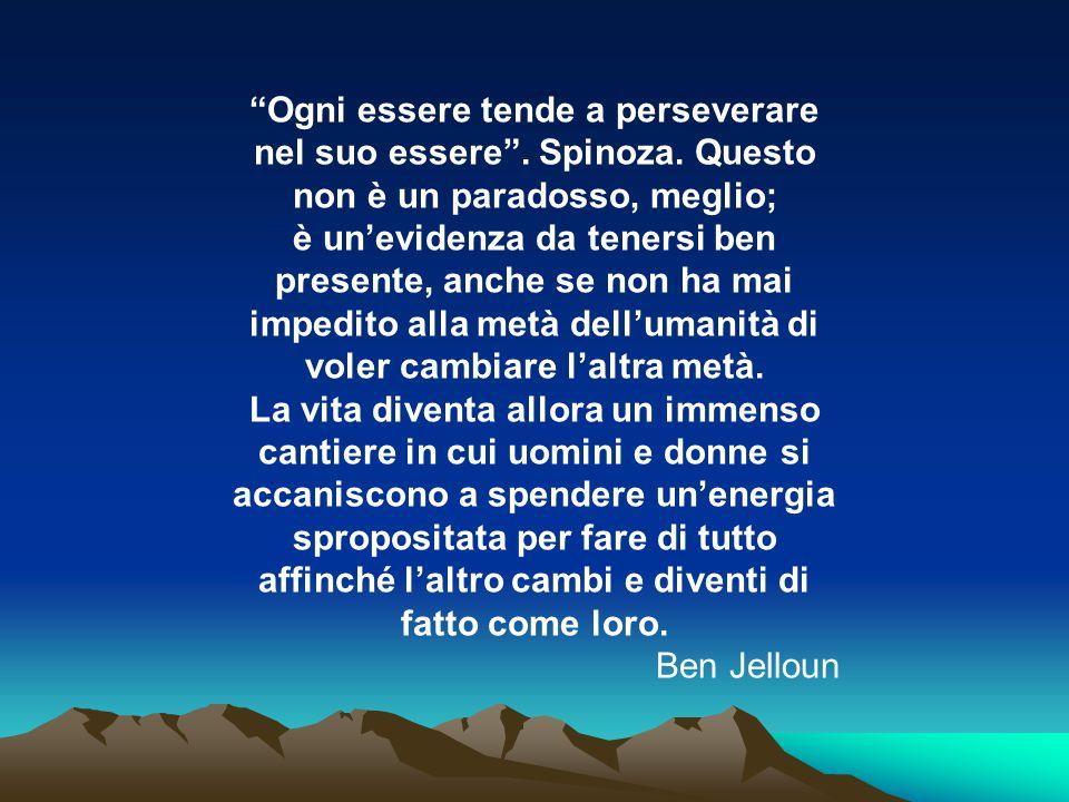 Ogni essere tende a perseverare nel suo essere . Spinoza. Questo