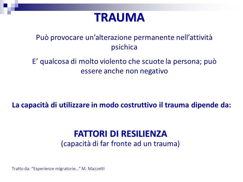 FATTORI DI RESILIENZA TRAUMA (capacità di far fronte ad un trauma)