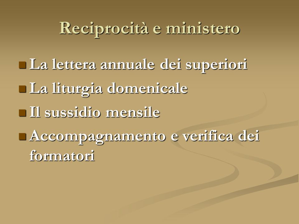 Reciprocità e ministero