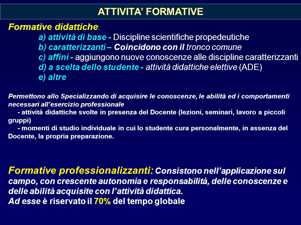 ATTIVITA' FORMATIVE Formative didattiche: a) attività di base - Discipline scientifiche propedeutiche.