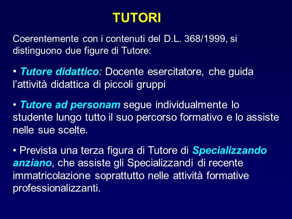 TUTORI Coerentemente con i contenuti del D.L. 368/1999, si distinguono due figure di Tutore: