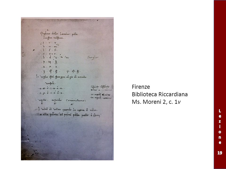 Biblioteca Riccardiana Ms. Moreni 2, c. 1v