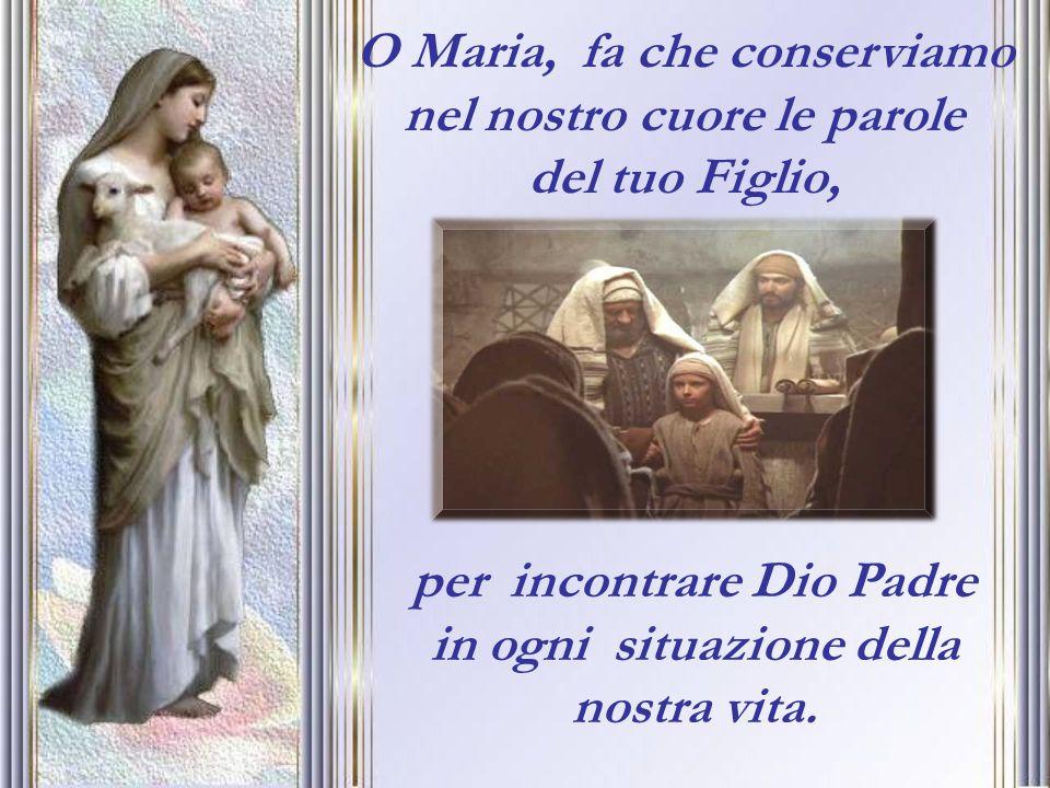 O Maria, fa che conserviamo nel nostro cuore le parole del tuo Figlio,
