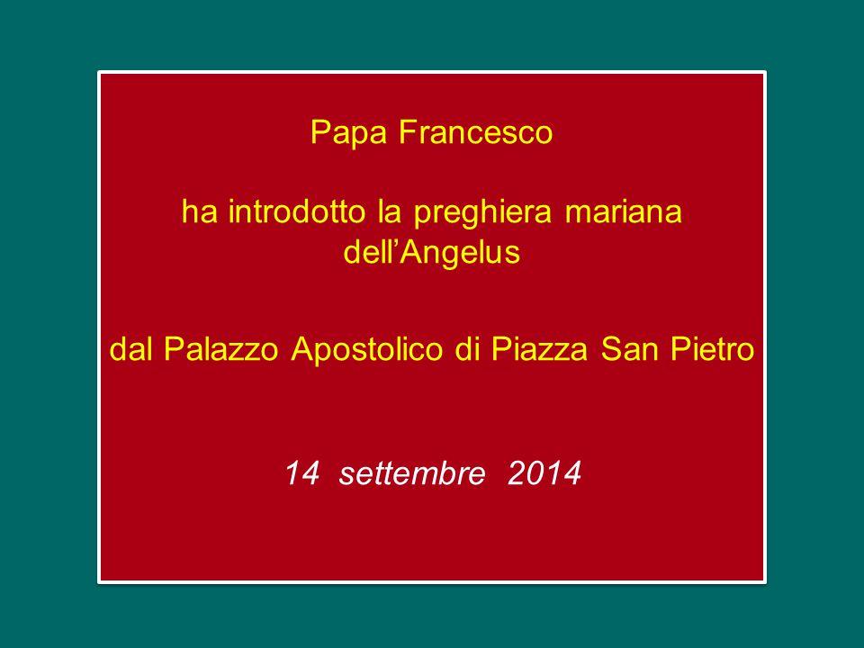 Papa Francesco ha introdotto la preghiera mariana dell'Angelus dal Palazzo Apostolico di Piazza San Pietro 14 settembre 2014
