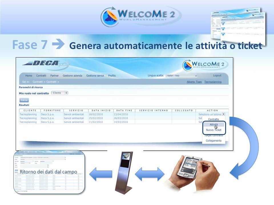 Fase 7  Genera automaticamente le attività o ticket