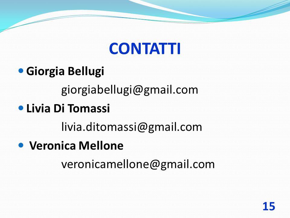 CONTATTI Giorgia Bellugi giorgiabellugi@gmail.com Livia Di Tomassi