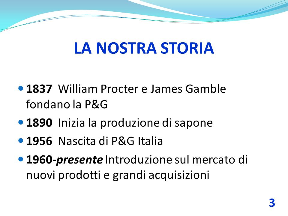 LA NOSTRA STORIA 1837 William Procter e James Gamble fondano la P&G