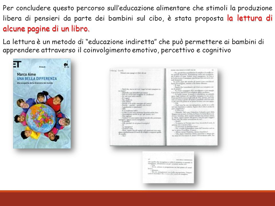 Per concludere questo percorso sull'educazione alimentare che stimoli la produzione libera di pensieri da parte dei bambini sul cibo, è stata proposta la lettura di alcune pagine di un libro.