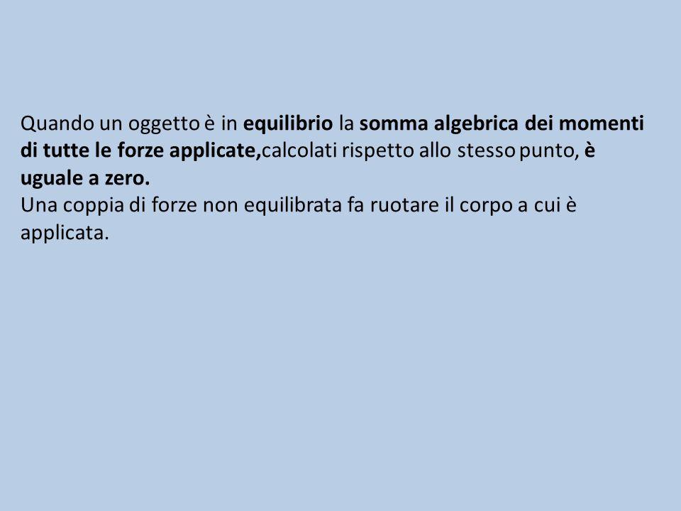 Quando un oggetto è in equilibrio la somma algebrica dei momenti di tutte le forze applicate,calcolati rispetto allo stesso punto, è uguale a zero.