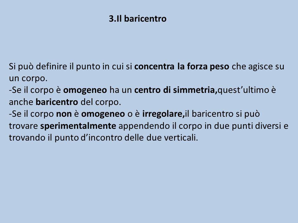 3.Il baricentro Si può definire il punto in cui si concentra la forza peso che agisce su un corpo.