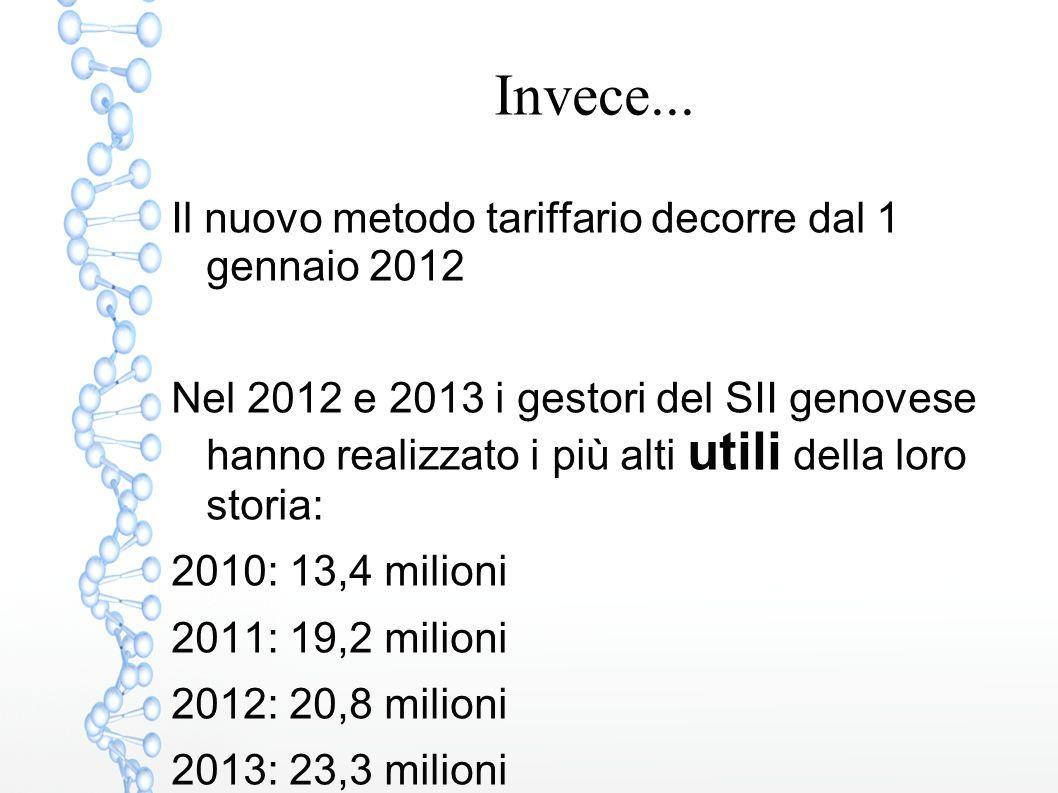 Invece... Il nuovo metodo tariffario decorre dal 1 gennaio 2012