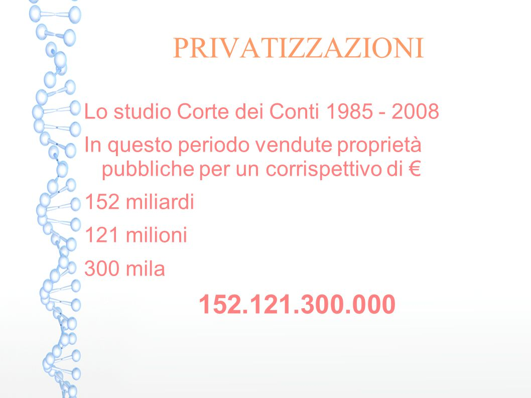 PRIVATIZZAZIONI 152.121.300.000 Lo studio Corte dei Conti 1985 - 2008