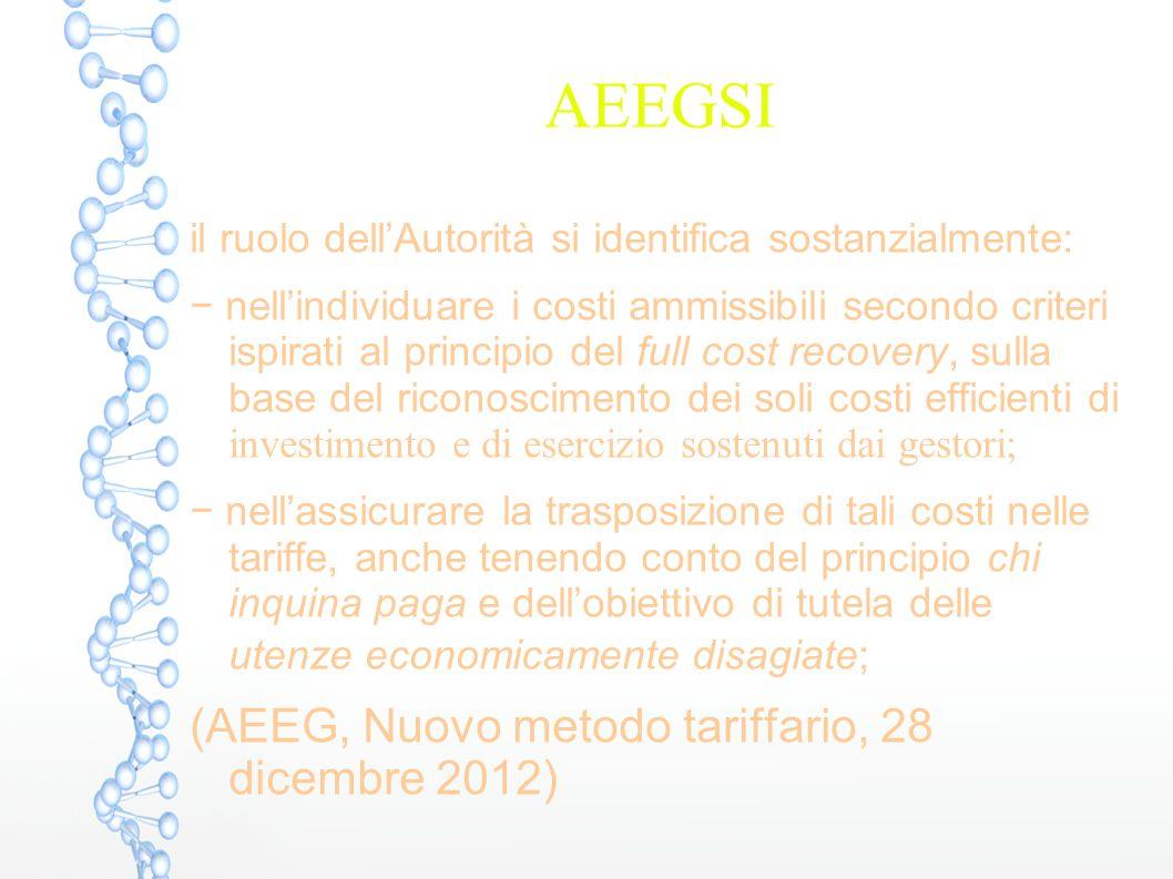 AEEGSI (AEEG, Nuovo metodo tariffario, 28 dicembre 2012)