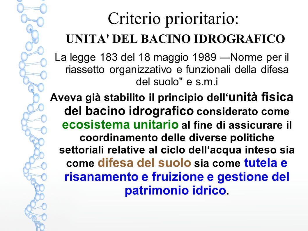 Criterio prioritario: UNITA DEL BACINO IDROGRAFICO