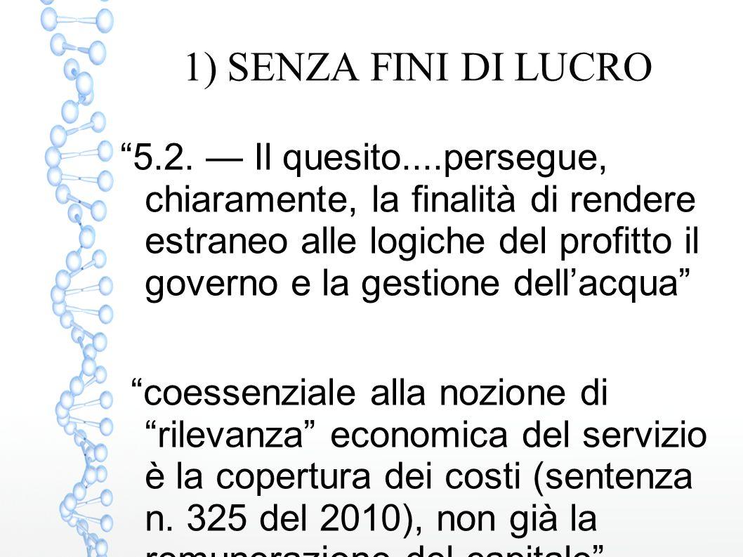 1) SENZA FINI DI LUCRO