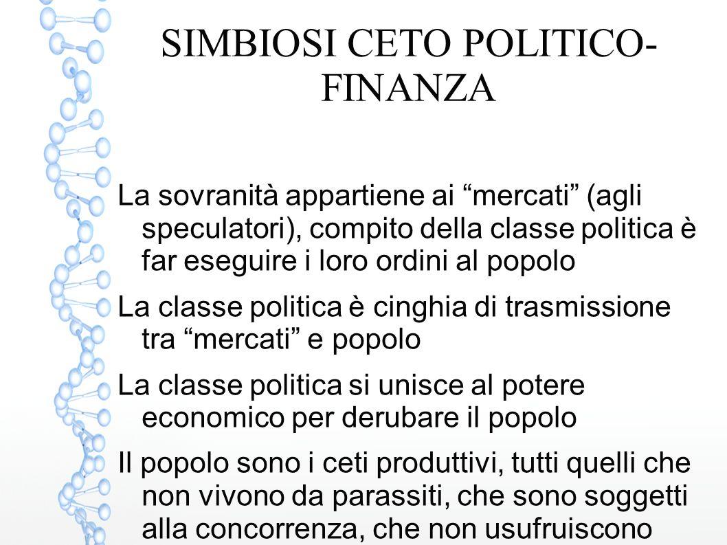 SIMBIOSI CETO POLITICO-FINANZA