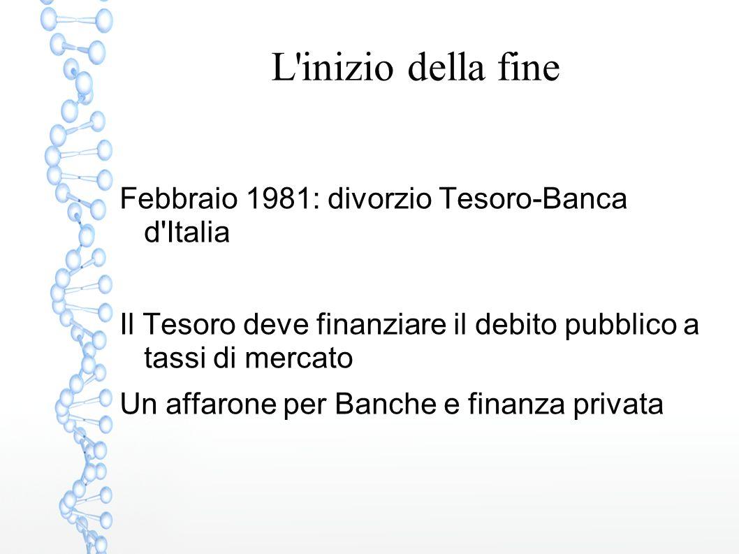 L inizio della fine Febbraio 1981: divorzio Tesoro-Banca d Italia