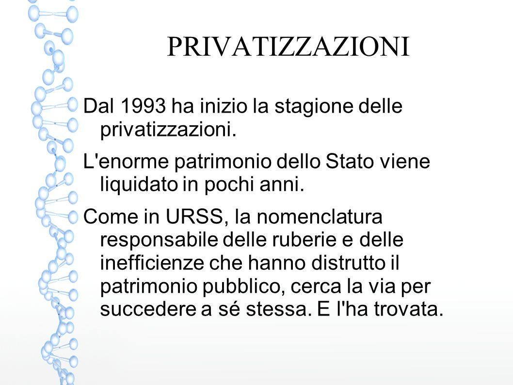 PRIVATIZZAZIONI Dal 1993 ha inizio la stagione delle privatizzazioni.