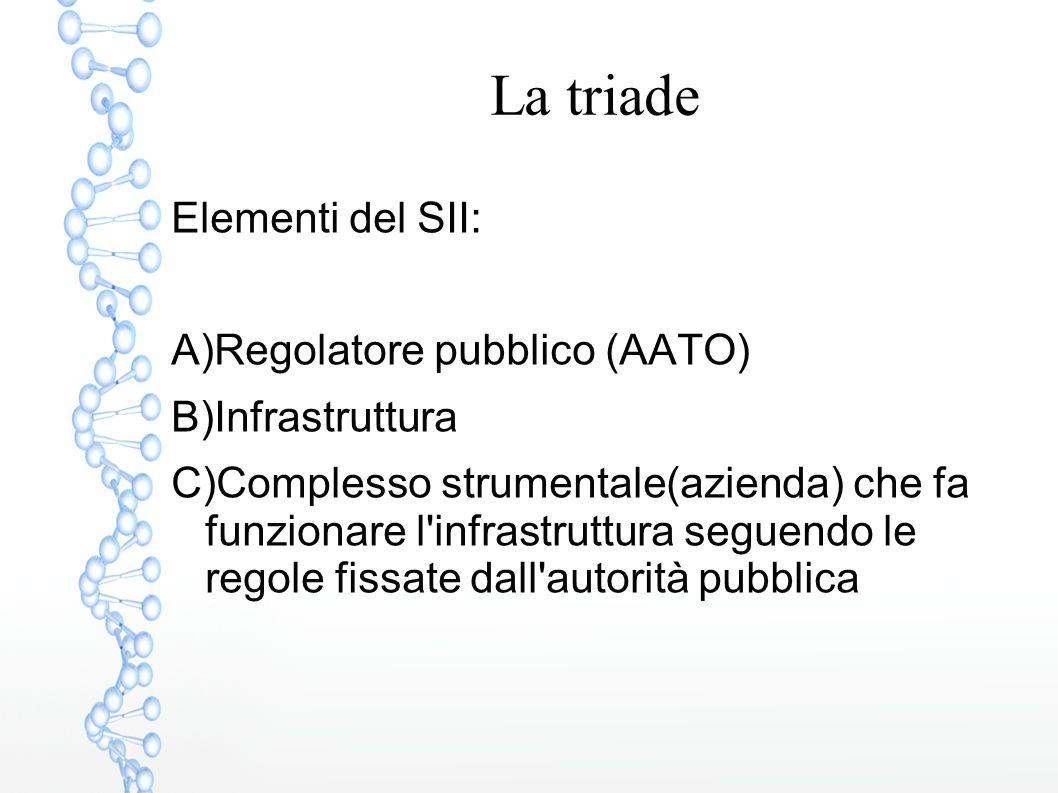 La triade Elementi del SII: Regolatore pubblico (AATO) Infrastruttura