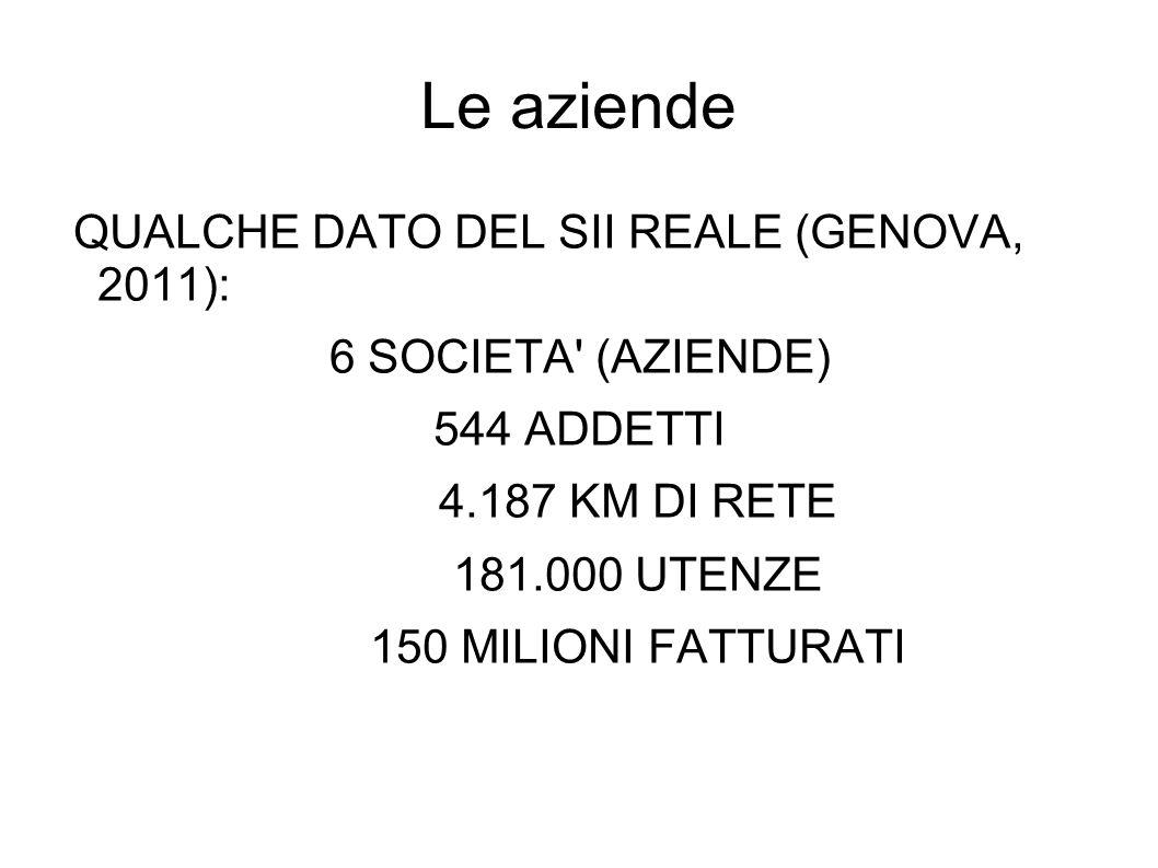 Le aziende QUALCHE DATO DEL SII REALE (GENOVA, 2011):