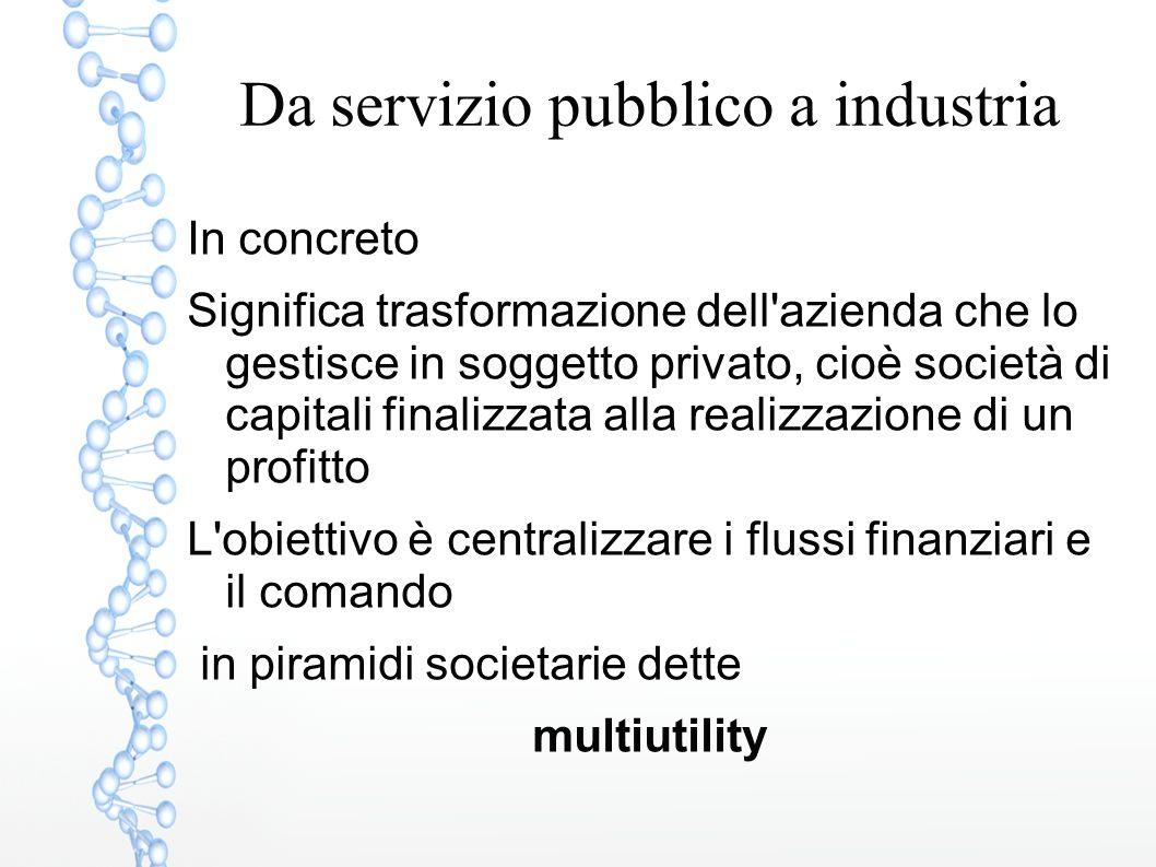 Da servizio pubblico a industria