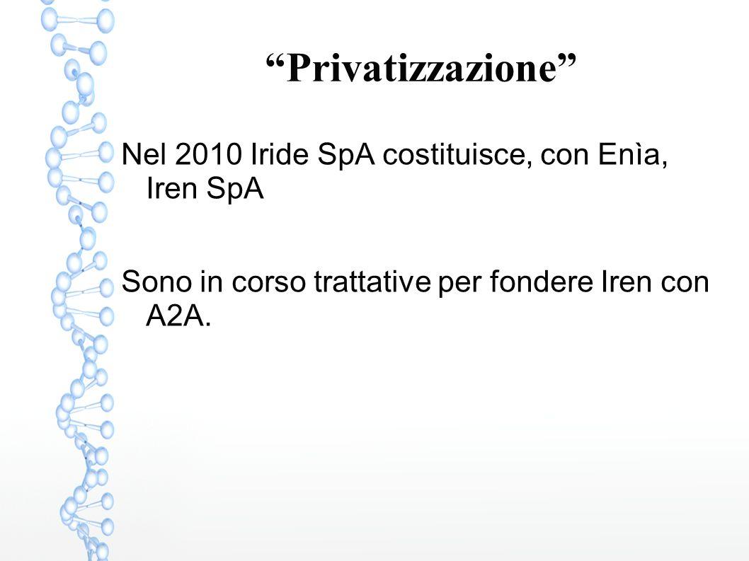 Privatizzazione Nel 2010 Iride SpA costituisce, con Enìa, Iren SpA