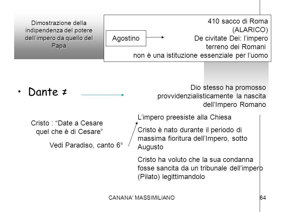 Dante ≠ 410 sacco di Roma (ALARICO) De civitate Dei: l'impero