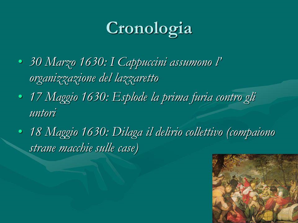Cronologia 30 Marzo 1630: I Cappuccini assumono l' organizzazione del lazzaretto. 17 Maggio 1630: Esplode la prima furia contro gli untori.