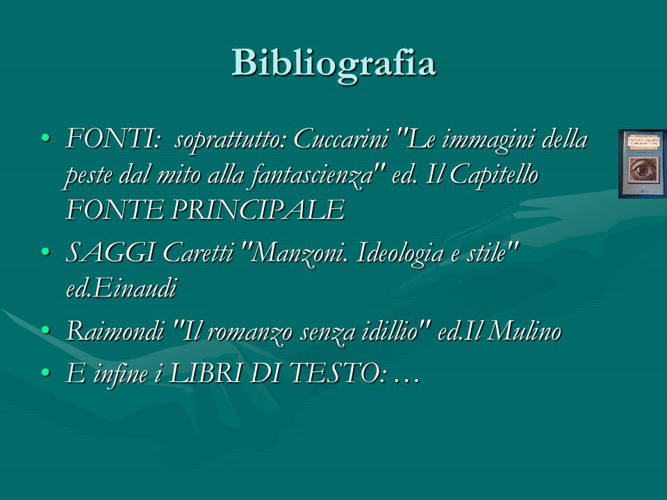 Bibliografia FONTI: soprattutto: Cuccarini Le immagini della peste dal mito alla fantascienza ed. Il Capitello FONTE PRINCIPALE.