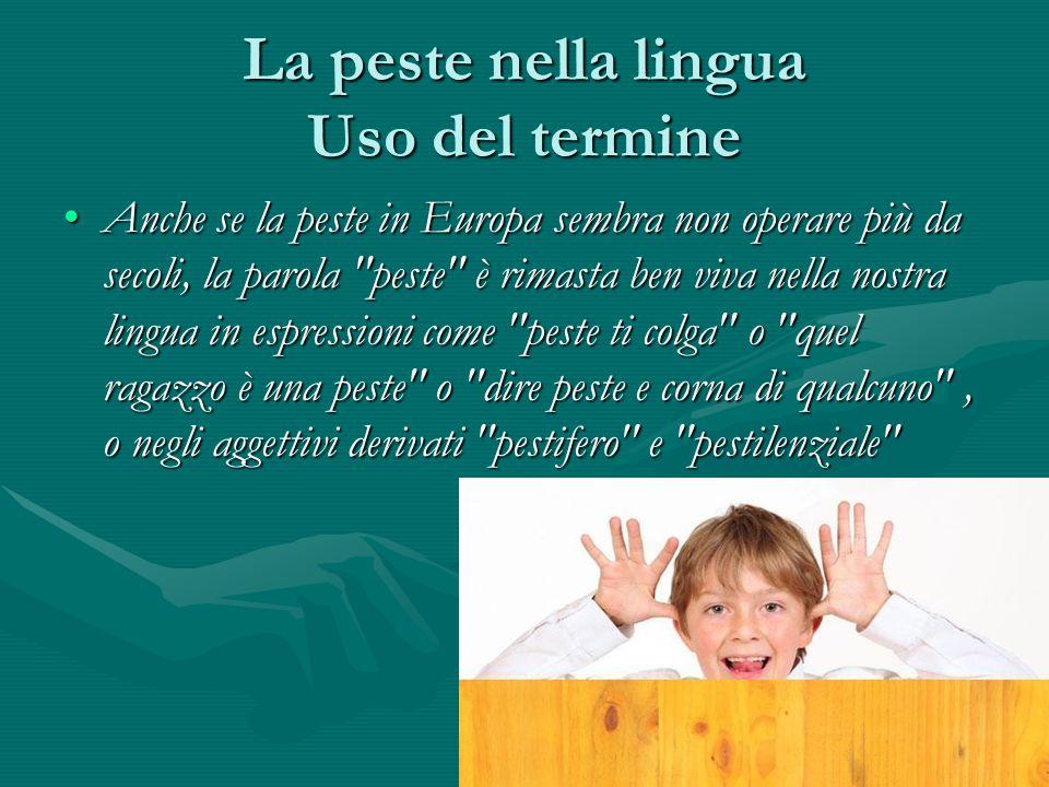 La peste nella lingua Uso del termine