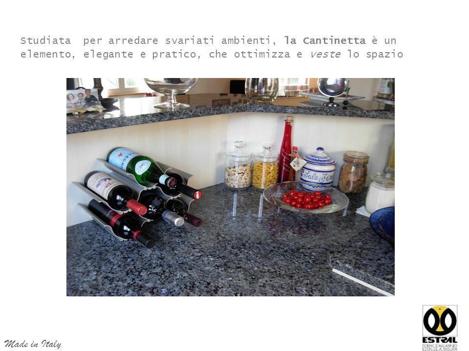Studiata per arredare svariati ambienti, la Cantinetta è un elemento, elegante e pratico, che ottimizza e veste lo spazio