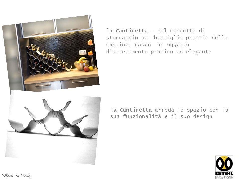 la Cantinetta – dal concetto di stoccaggio per bottiglie proprio delle cantine, nasce un oggetto d'arredamento pratico ed elegante