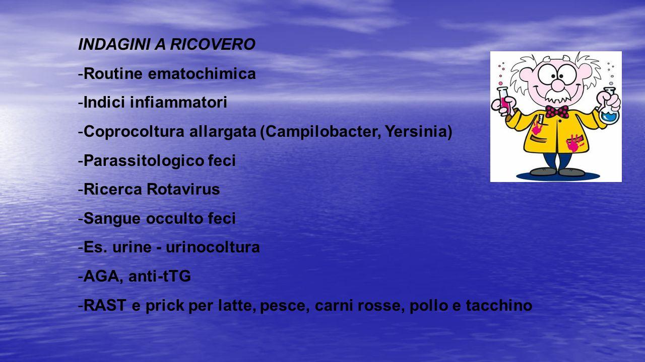 INDAGINI A RICOVERO Routine ematochimica. Indici infiammatori. Coprocoltura allargata (Campilobacter, Yersinia)