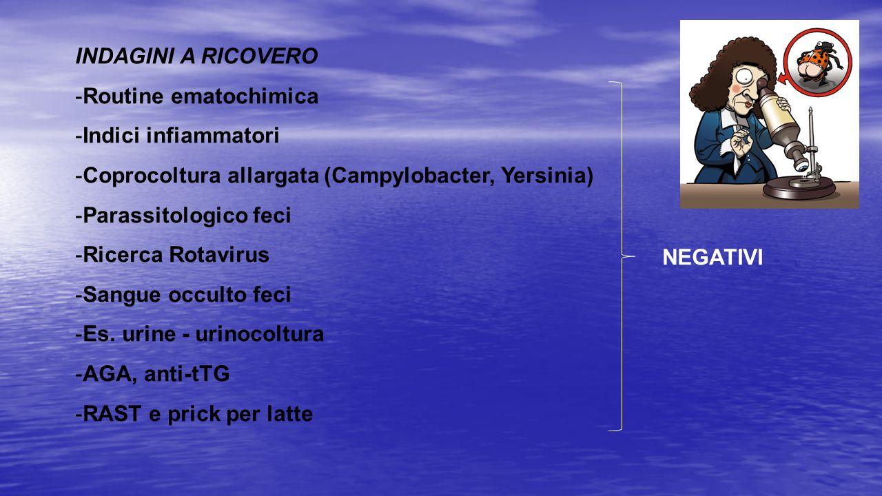 INDAGINI A RICOVERO Routine ematochimica. Indici infiammatori. Coprocoltura allargata (Campylobacter, Yersinia)