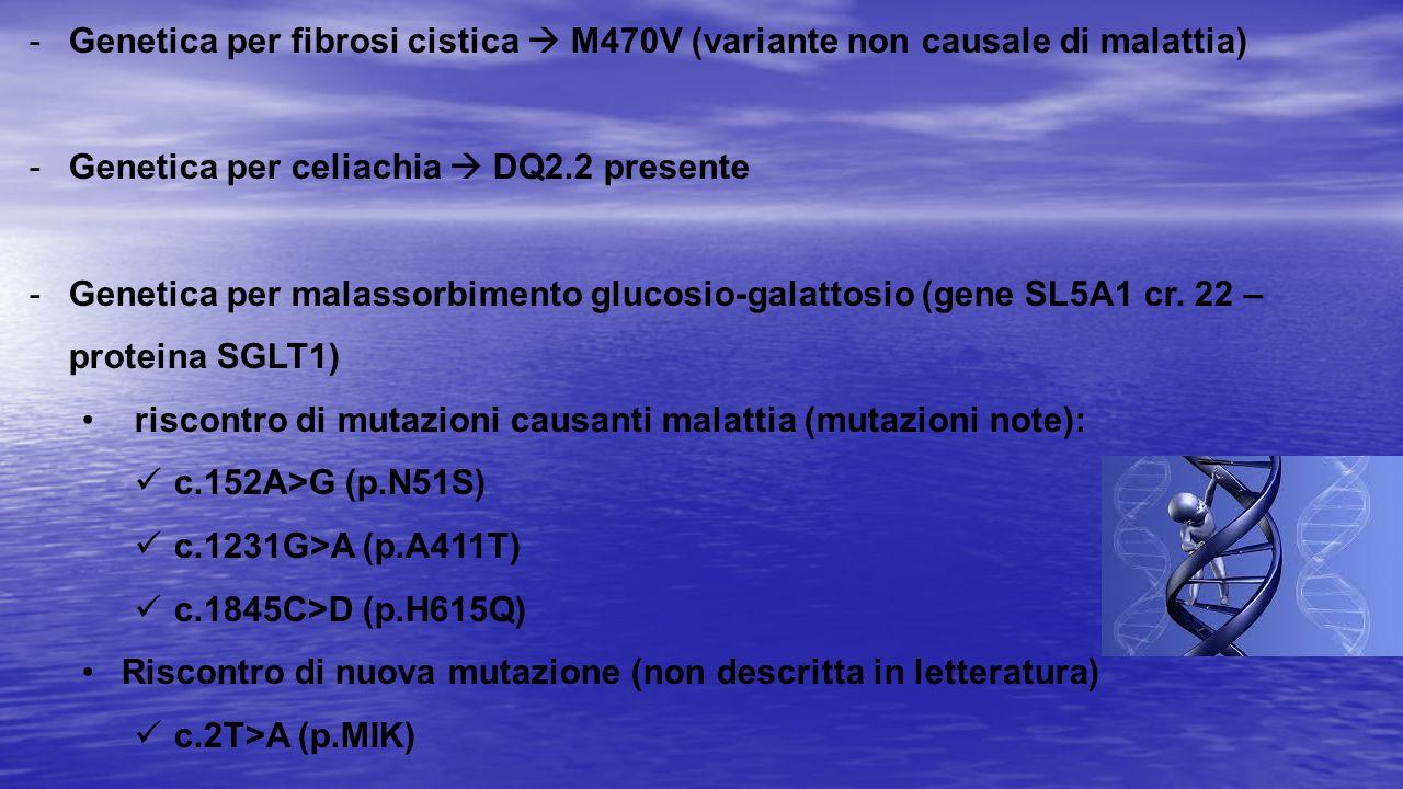 Genetica per fibrosi cistica  M470V (variante non causale di malattia)