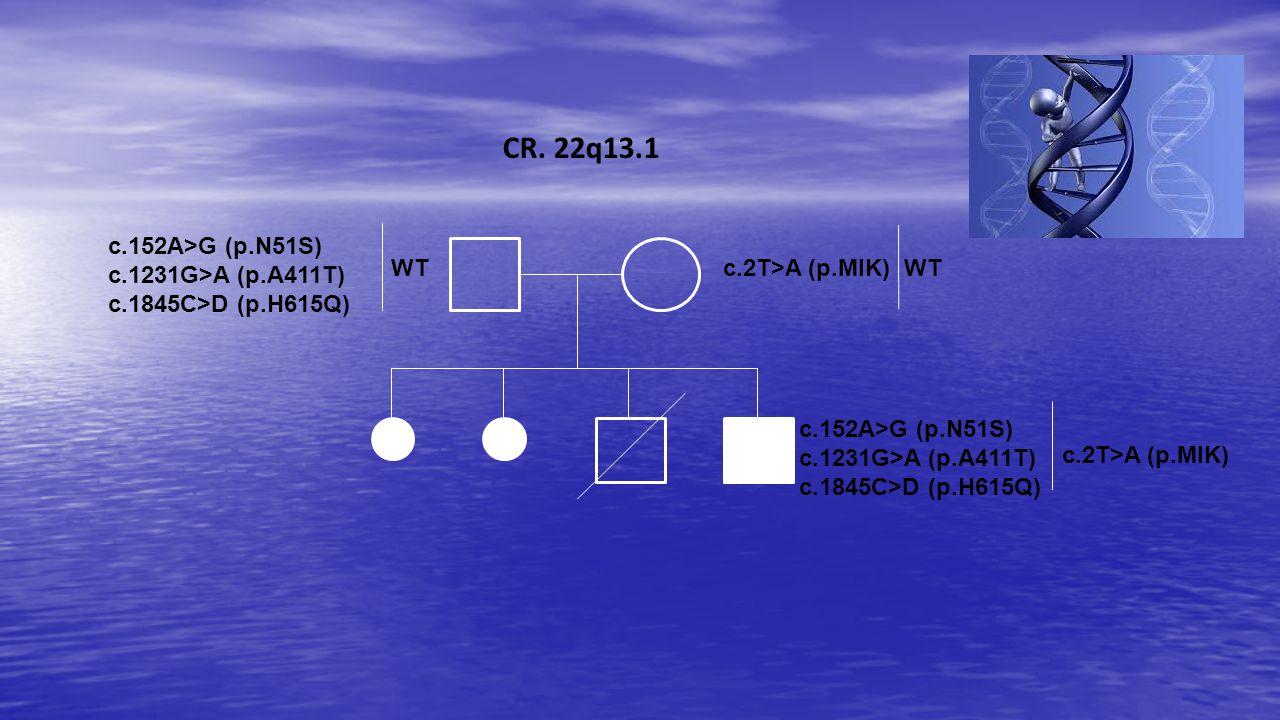 CR. 22q13.1 c.152A>G (p.N51S) c.1231G>A (p.A411T)