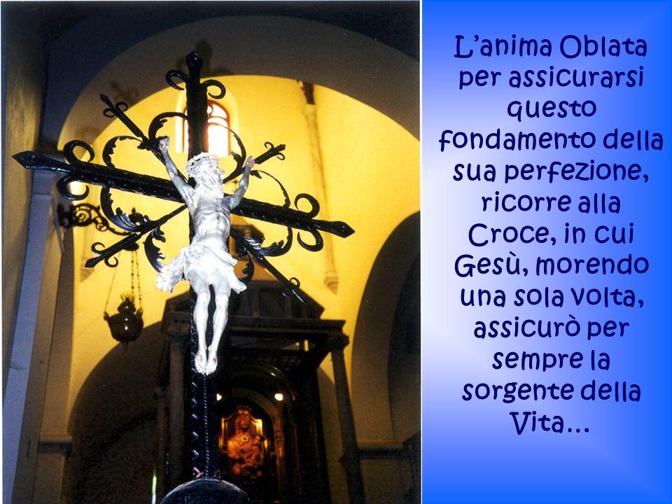 L'anima Oblata per assicurarsi questo fondamento della sua perfezione, ricorre alla Croce, in cui Gesù, morendo una sola volta, assicurò per sempre la sorgente della Vita…