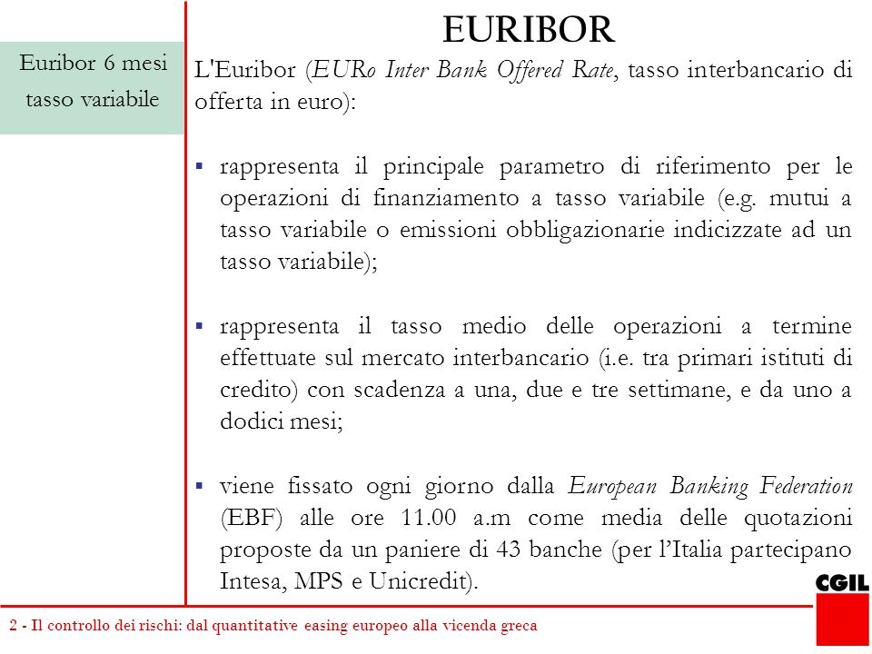 EURIBOR Euribor 6 mesi. tasso variabile. L Euribor (EURo Inter Bank Offered Rate, tasso interbancario di offerta in euro):