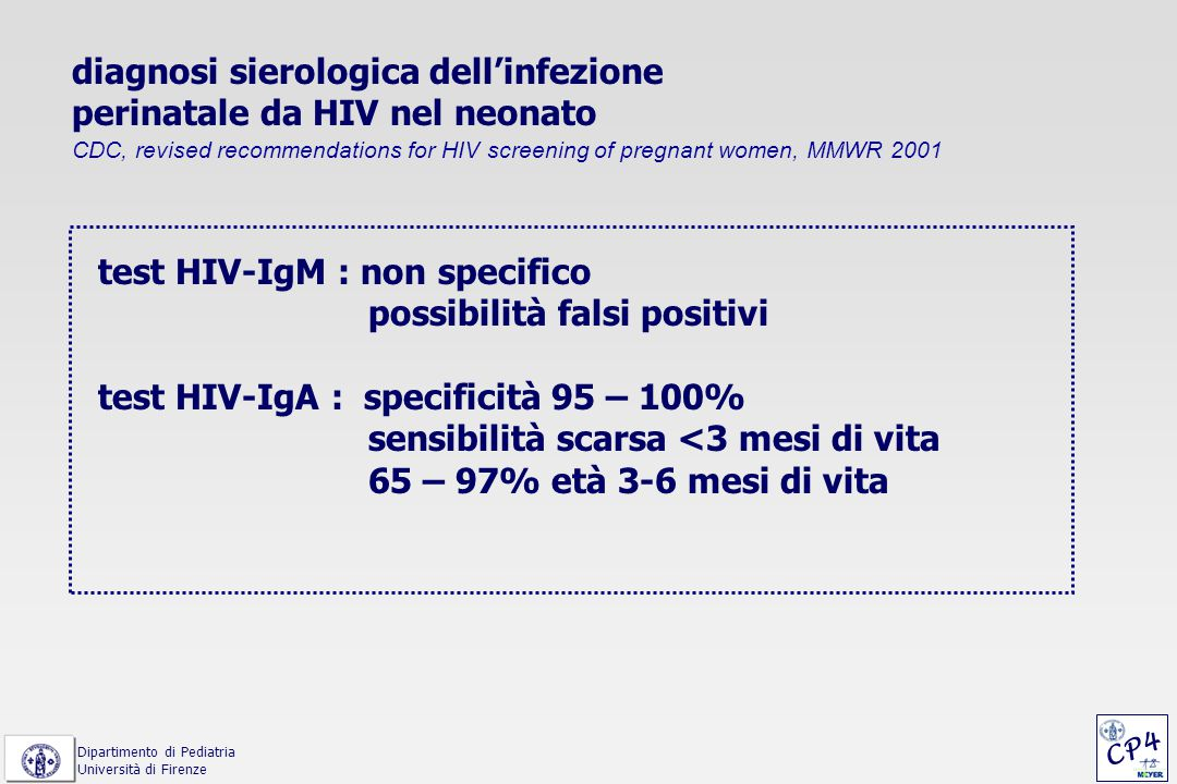 diagnosi sierologica dell'infezione perinatale da HIV nel neonato