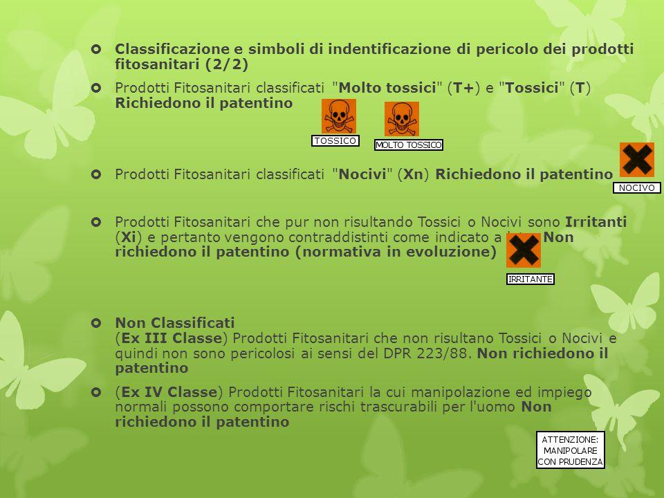 Classificazione e simboli di indentificazione di pericolo dei prodotti fitosanitari (2/2)
