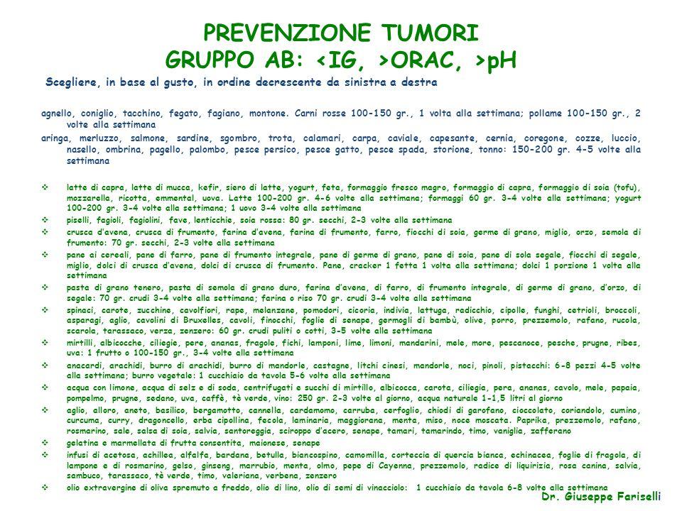 PREVENZIONE TUMORI GRUPPO AB: <IG, >ORAC, >pH